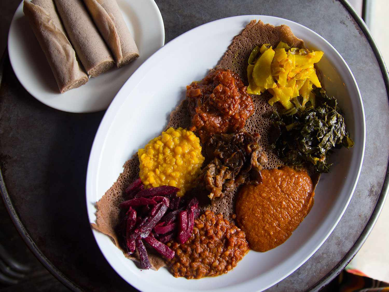 Vegan Ethiopian feast at Bunna Cafe, Bushwick, Brooklyn