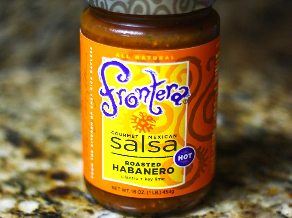 A jar of Frontera roasted habanero salsa.