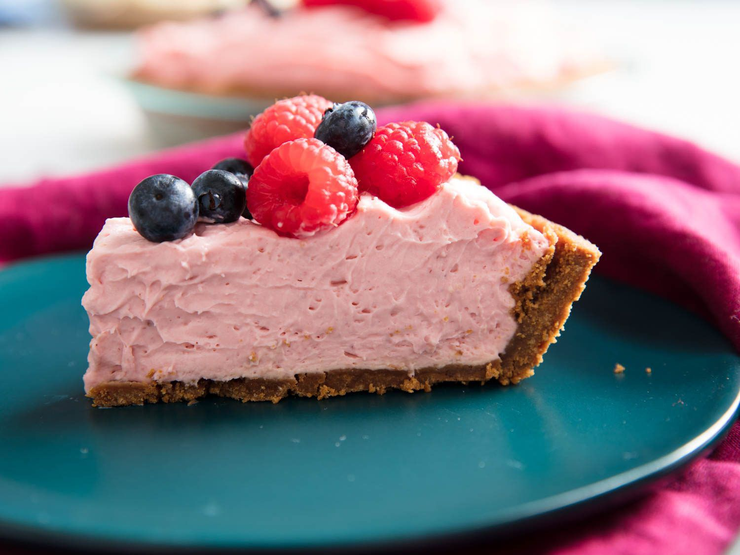 slice of cheesecake with raspberries and blueberries