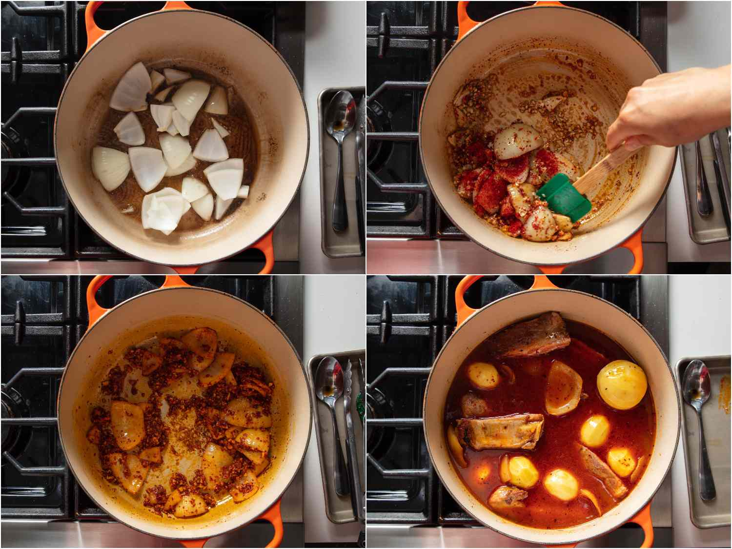 Cooking onions in rendered pork fat and simmering with potatoes and ribs.
