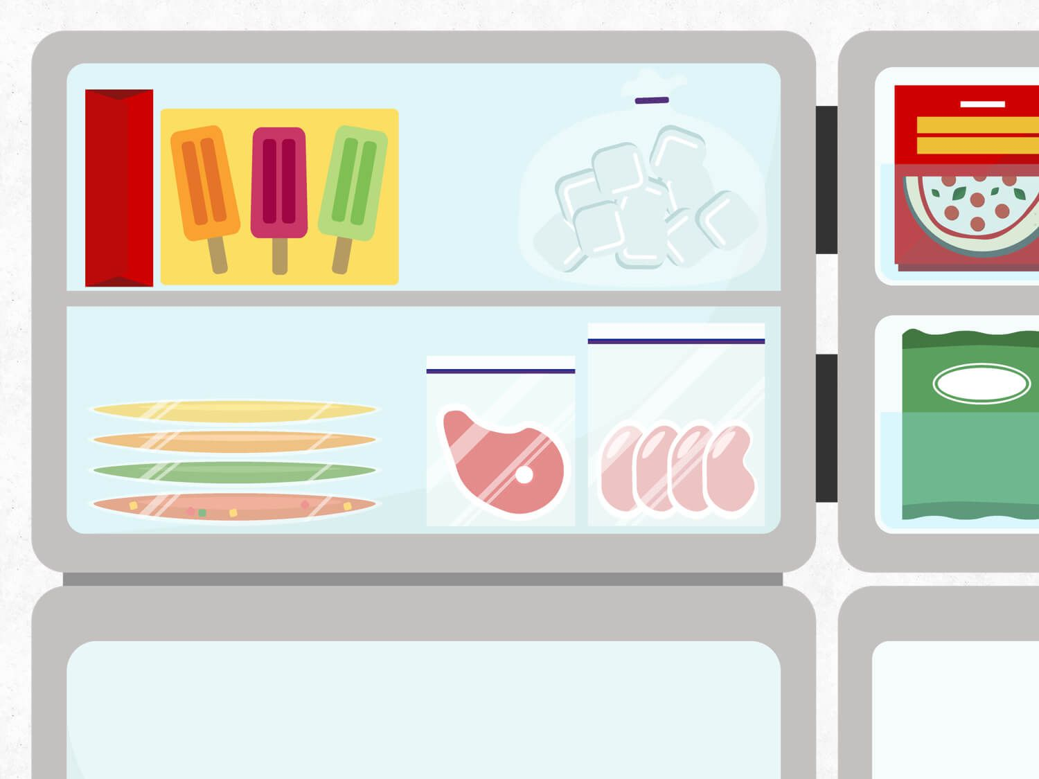 Graphic illustration of the freezer shelves in a refrigerator, holding frozen meats, flat-frozen items in bags, popsicles, and packaged foods