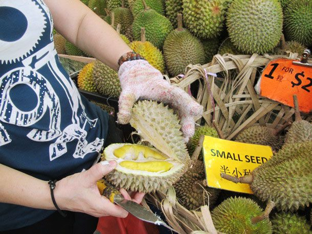 Opening a durian