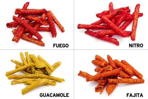 Grid of four Takis flavors: Fuego, Nitro, Guacamole, and Fajita