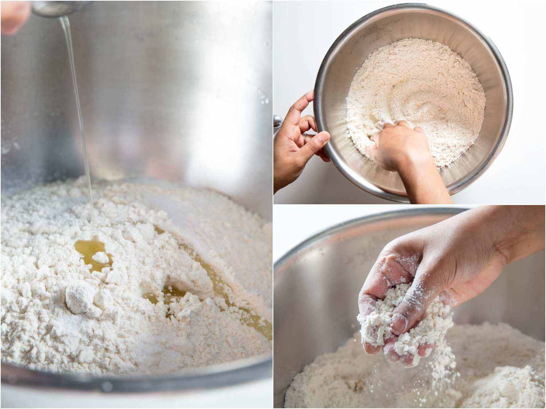 Adding oil to flour, rubbing flour into paratha dough