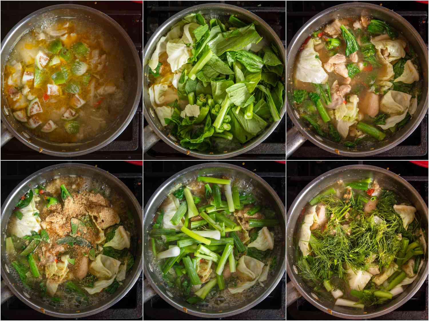 collage: vegetables added in stages to the pot