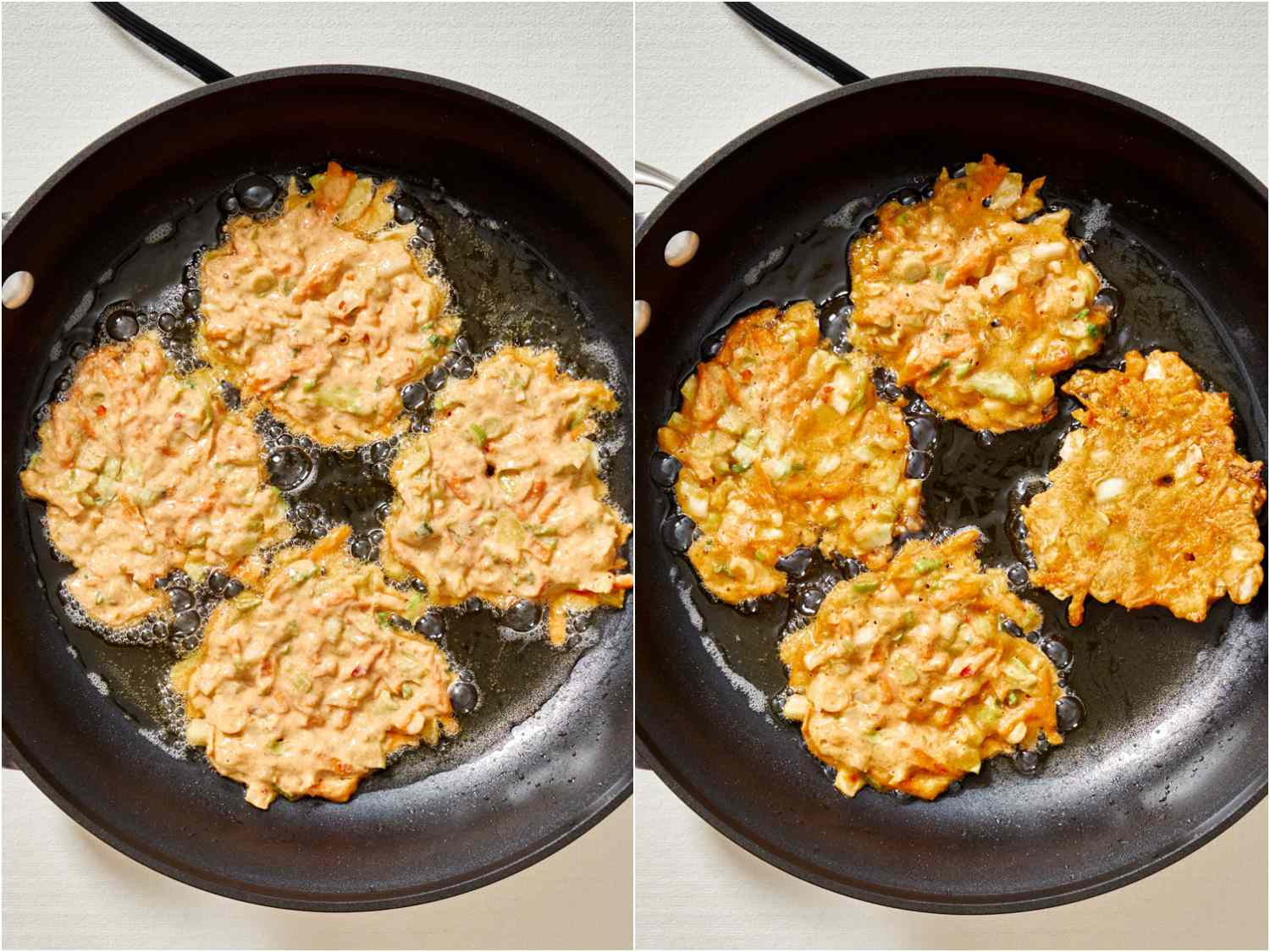 Frying vegetable pancakes in a non-stick skillet