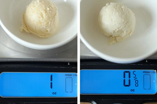 Photo collage showing ice cream base frozen with no whipped cream (left) and whipped cream (right) to compare overrun.