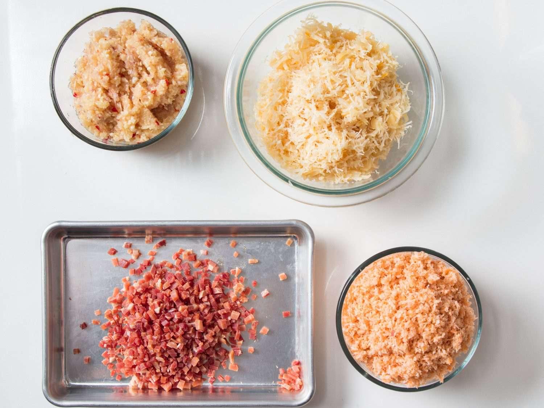Processed aromatics, scallops, shrimp, and diced ham for XO sauce.