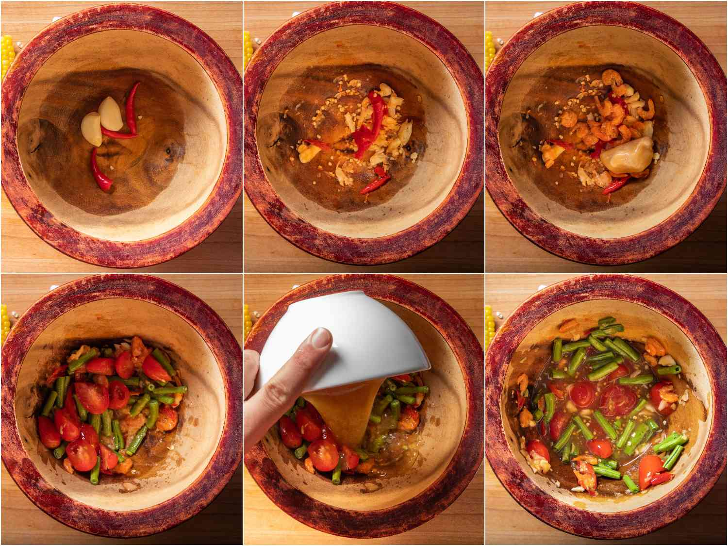 Lightly pounding ingredients for the salad in a wooden mortar and pestle, starting with garlic and chiles, followed by dried shrimp and palm sugar, long beans and cherry tomatoes, and fish sauce and lime juice.