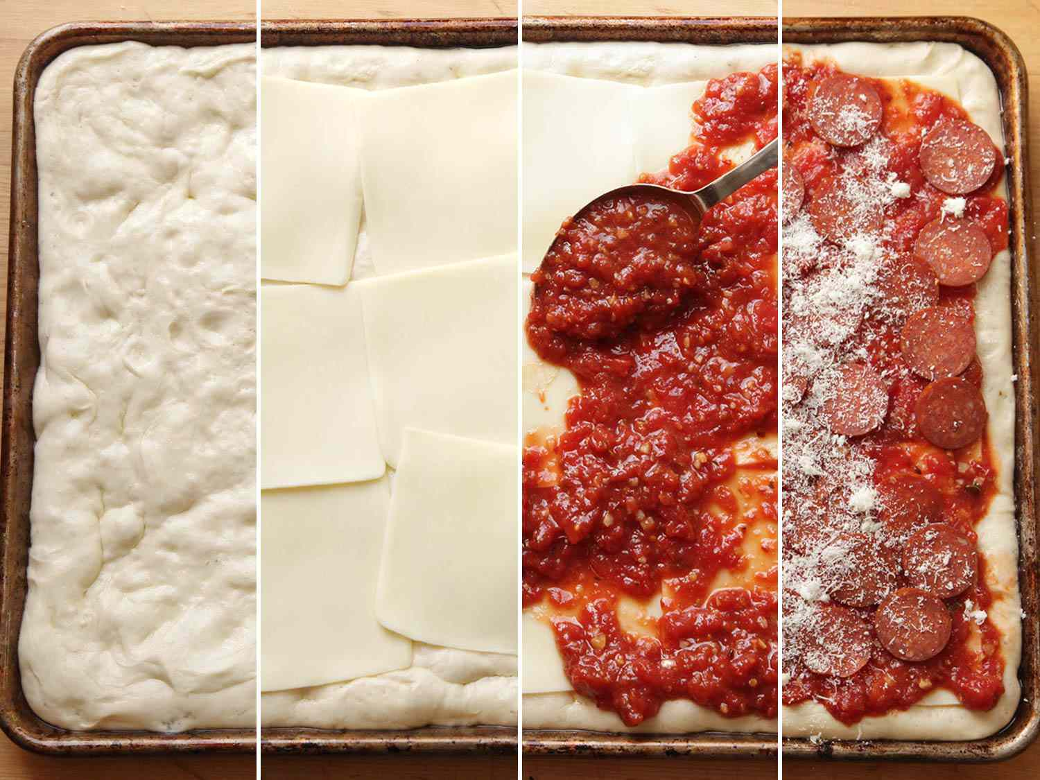 Collage of assembling a Sicilian-style pizza in the proper order, with cheese underneath the sauce.