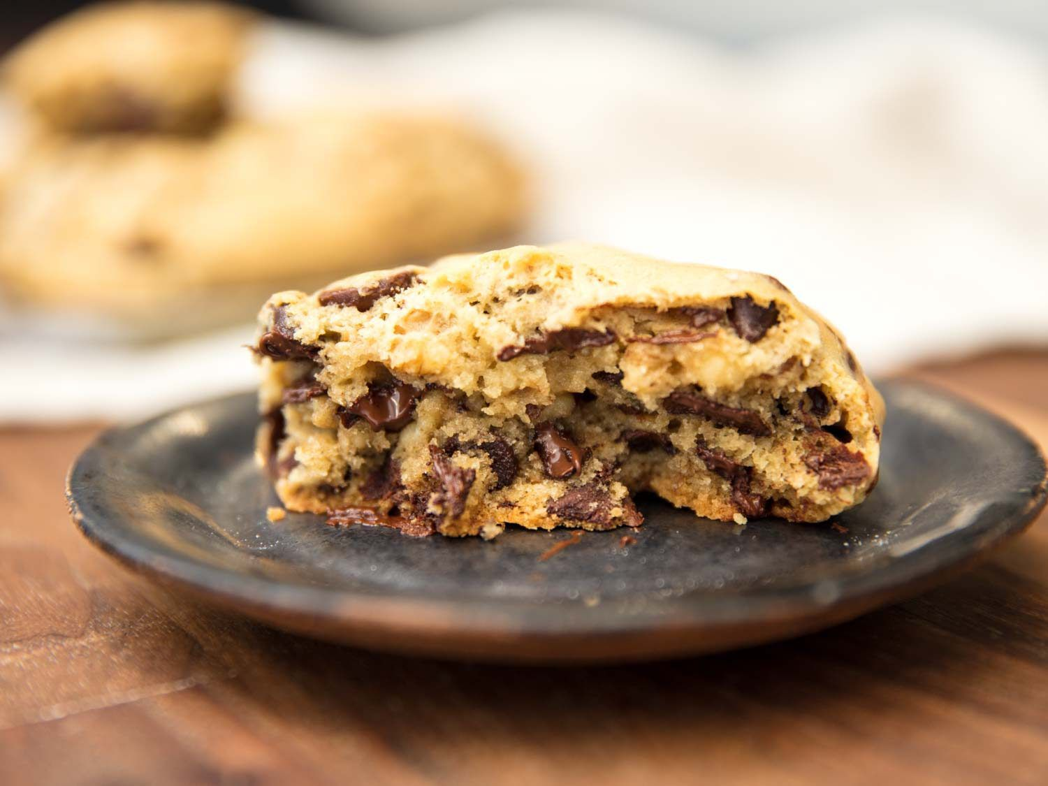 Interior of a Levain Bakery-style super thick chocolate chip cookie.