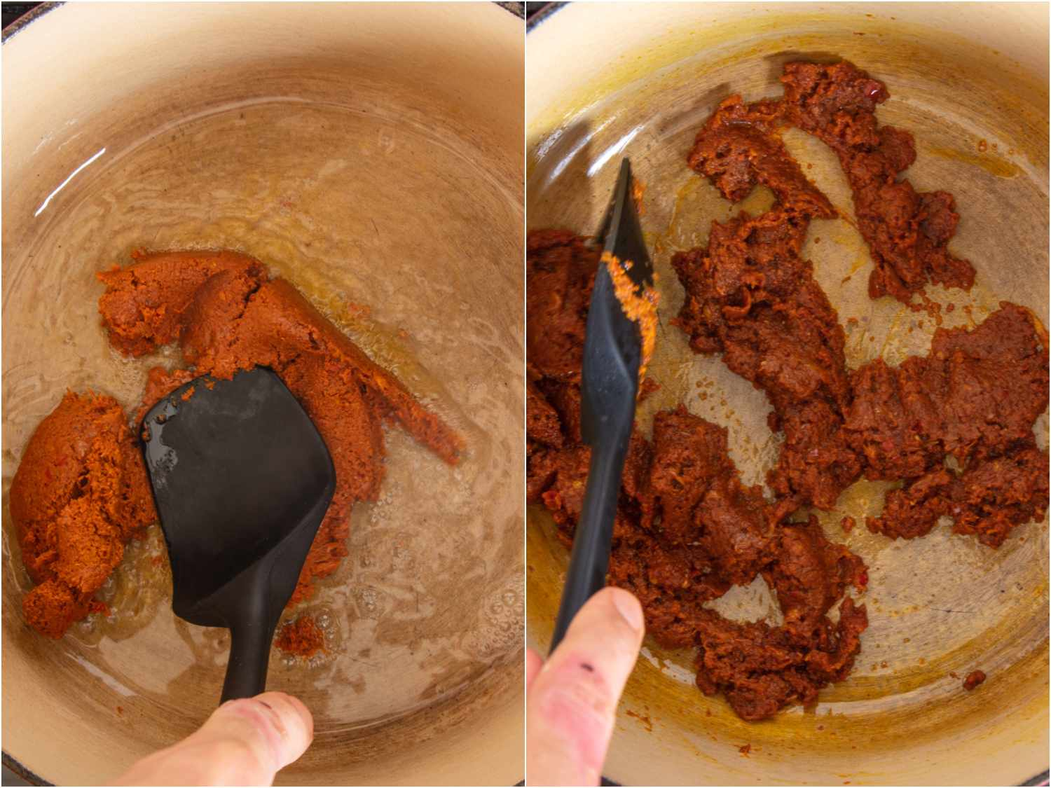 southern Thai curry paste in a dutch oven, stirring to break up