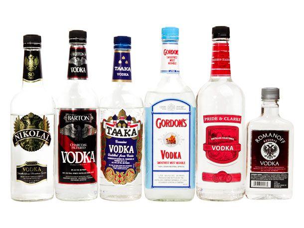 An assortment of bottles of vodka.