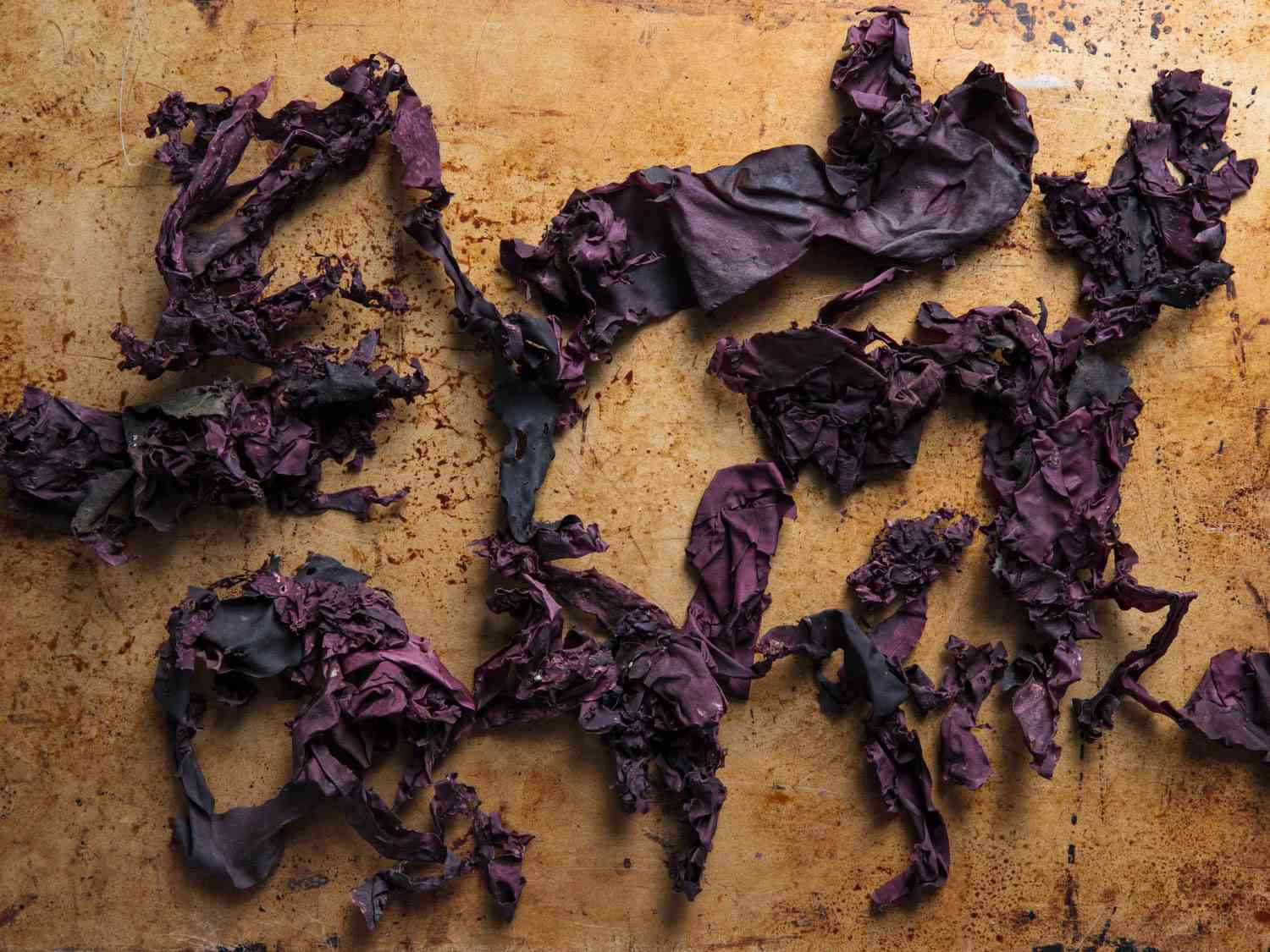 Several pieces of purple whole-leaf dulse