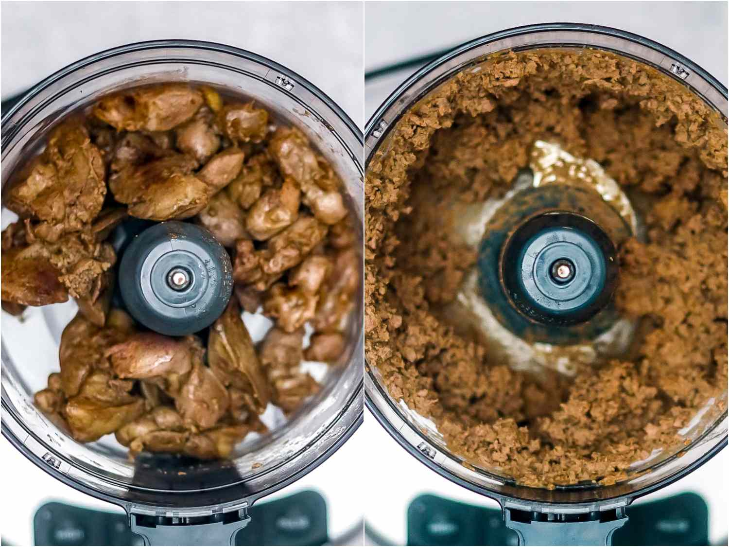 cooked giblets before and after being pulsed in a food processor