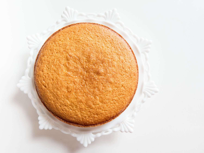 plain cake on a stand
