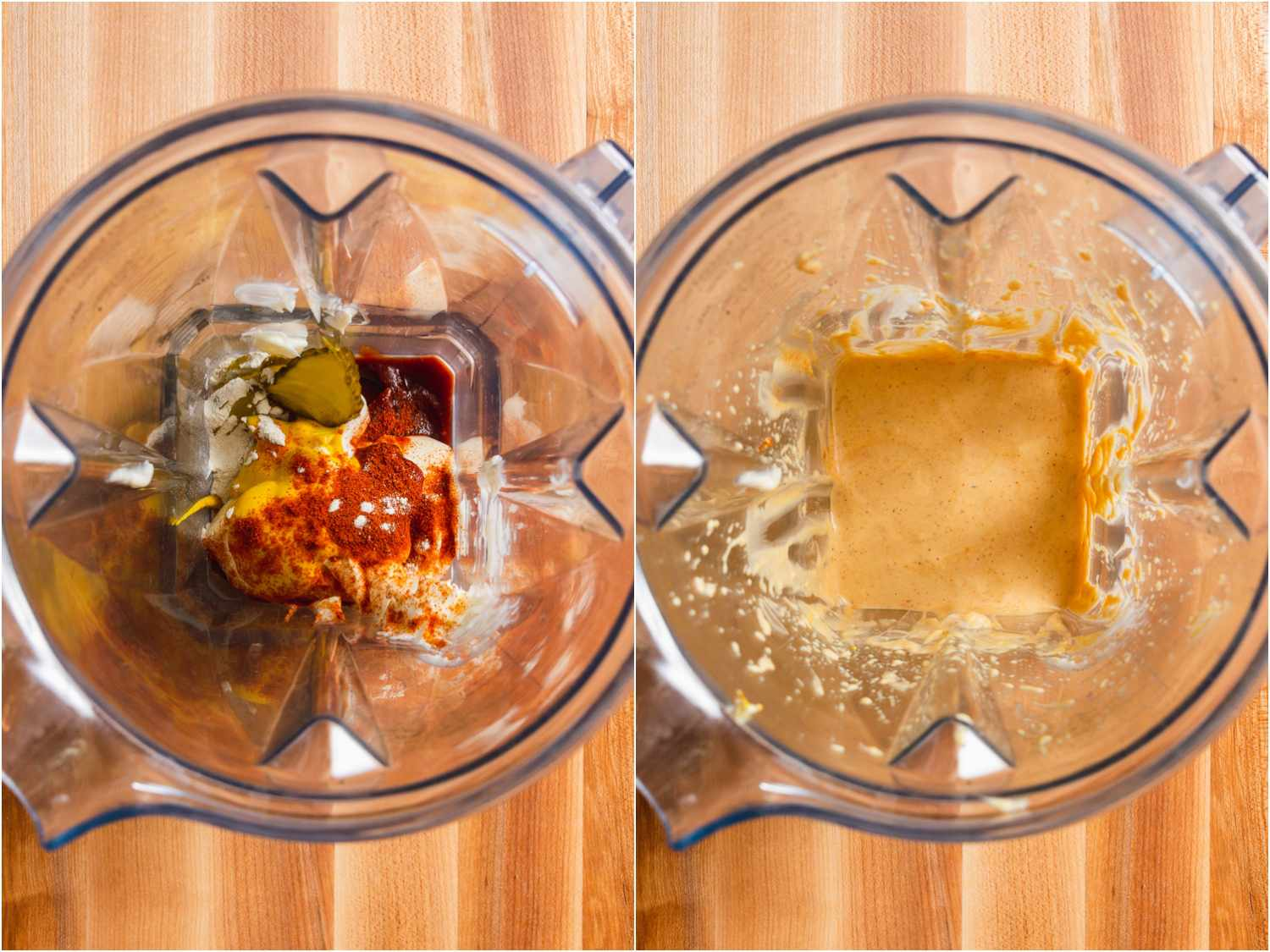 collage: before and after of blending sauce for Shack Burger