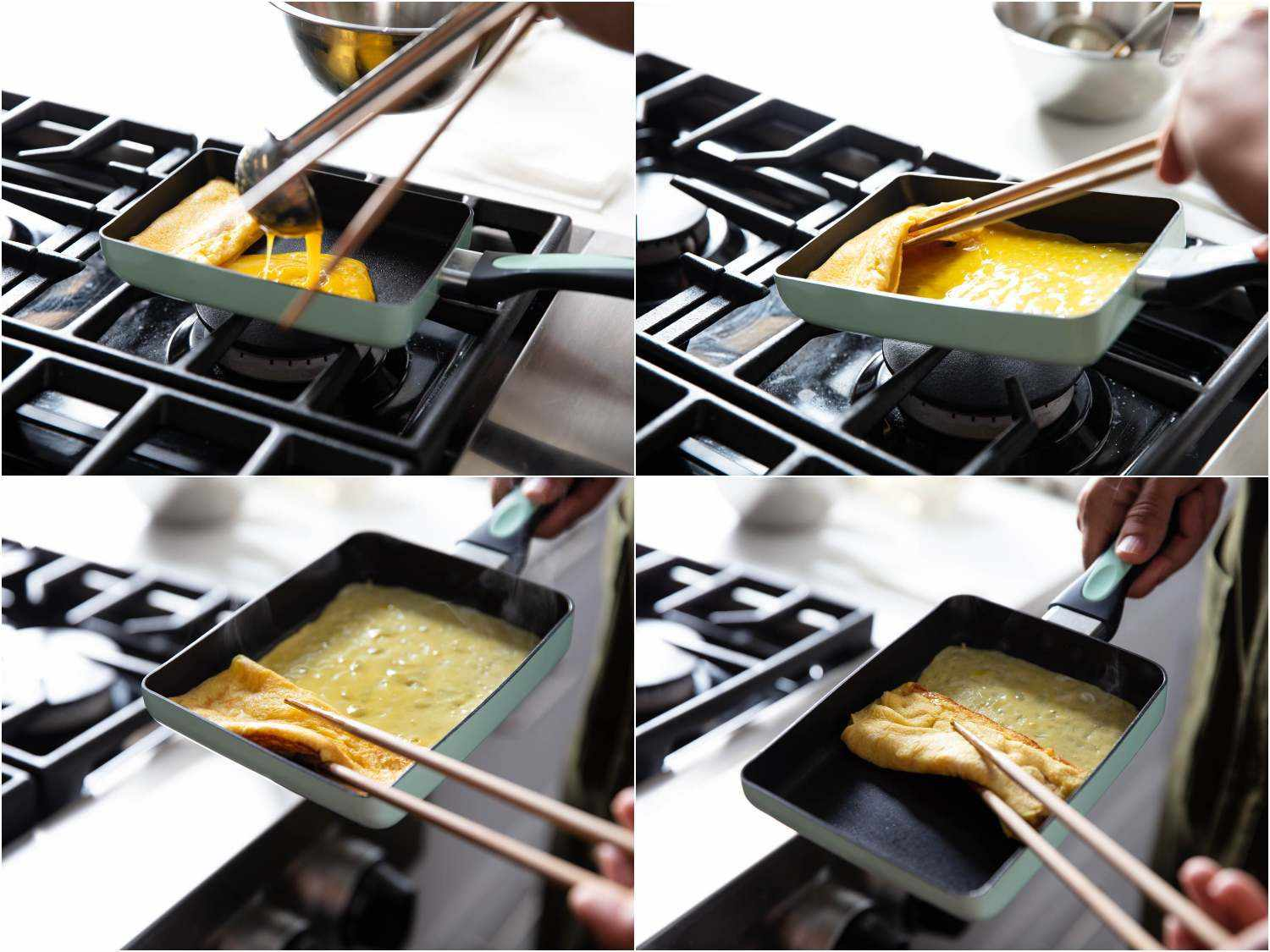 Step-by-step tamagoyaki process of four photos, showing a new layer of egg being poured into the rectangular pan, which already contains the previously rolled layers; the new egg is spread all around and under the existing roll of cooked egg, then it is all rolled up together to make a thicker roll.
