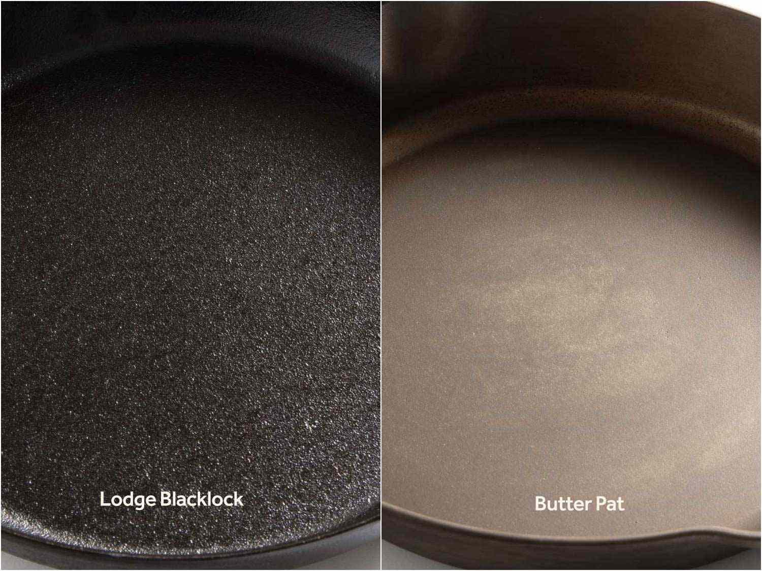A comparison of the surfaces of two cast iron skillets shows both a difference in surface texture (the Lodge rougher, the Butter Pat smoother) as well as differences in degree of seasoning (the Lodge is a deeper black, suggesting more seasoning, while the Butter Pat has more of a brown tint, suggesting less).