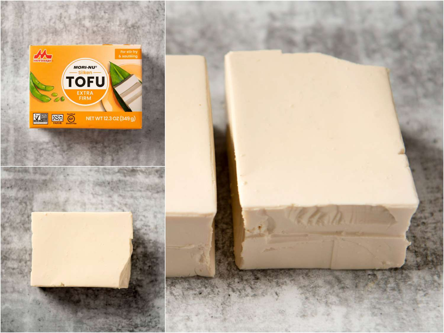 collage: extra firm silken tofu in packaging; unpackaged; side angle