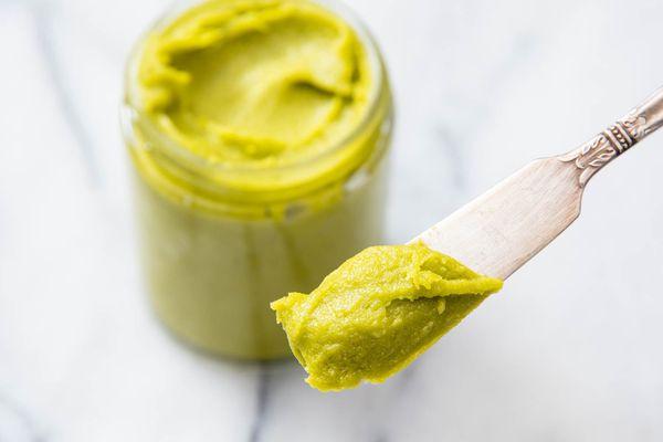 A jar of homemade pistachio paste.