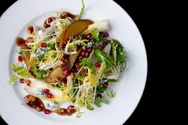Roasted Pear Salad with Endive, Pomegranate, Blue Cheese, and Hazelnut Vinaigrette