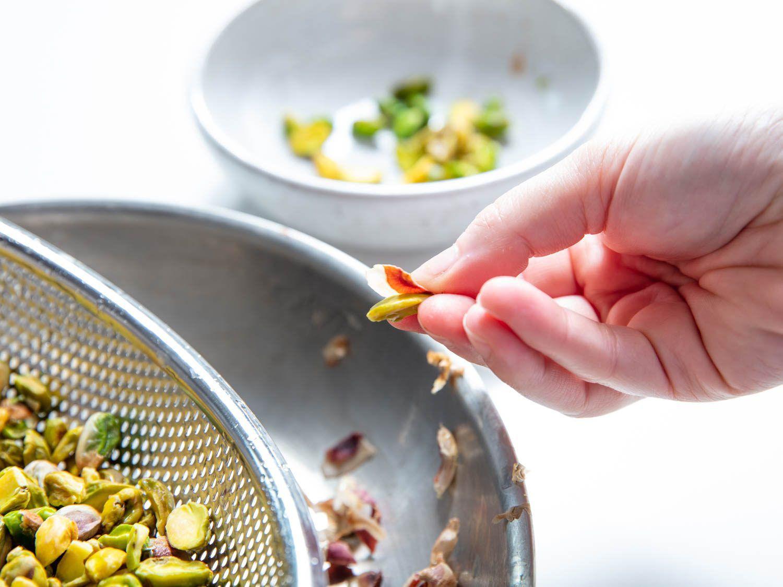 removing the pistachio skin