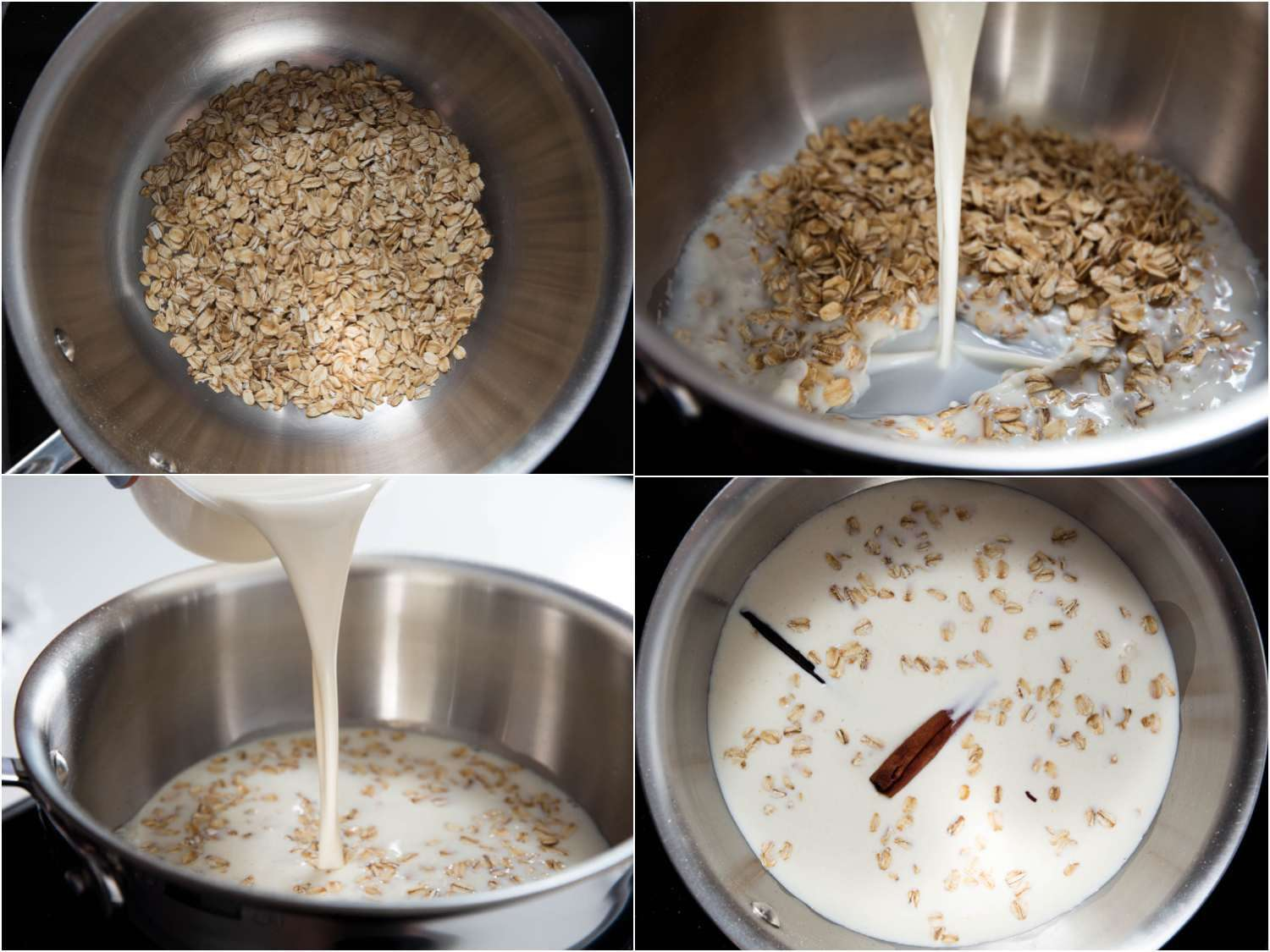 Collage of toasting oats and infusing dairy with cinnamon and vanilla