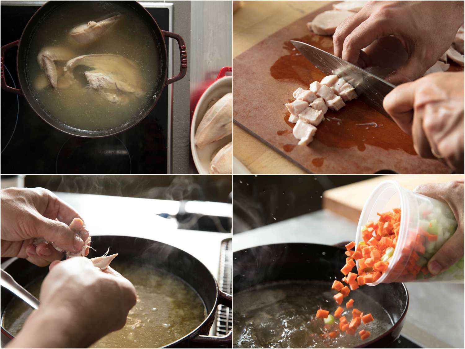 Photo collage of making chicken soup: chicken simmering in stock, dicing poached chicken, tearing chicken into pieces, adding diced vegetables to soup