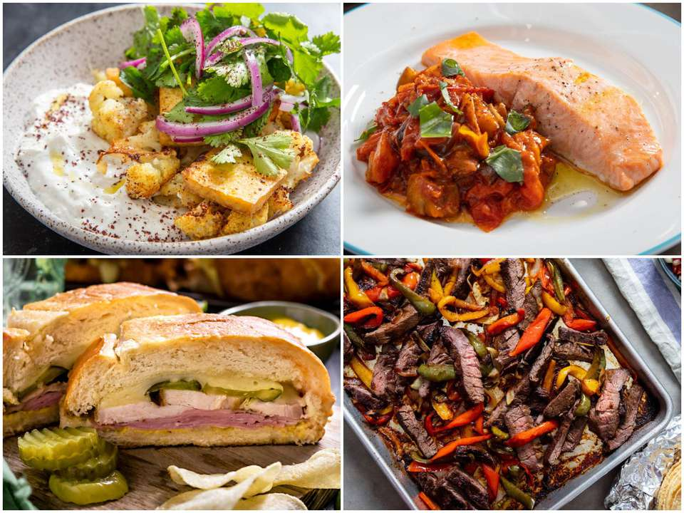 Collage of four sheet-pan dinners.