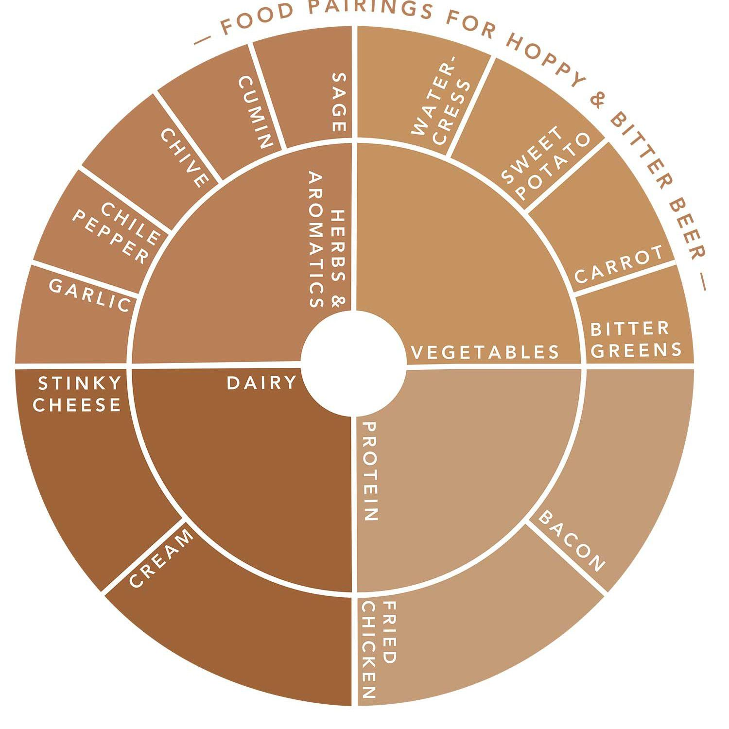 A graphic of a colored wheel showing the food categories that pair best with hoppy and bitter beers