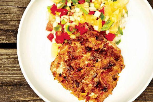 Plantain-Crusted Mahimahi with Pineapple Salsa