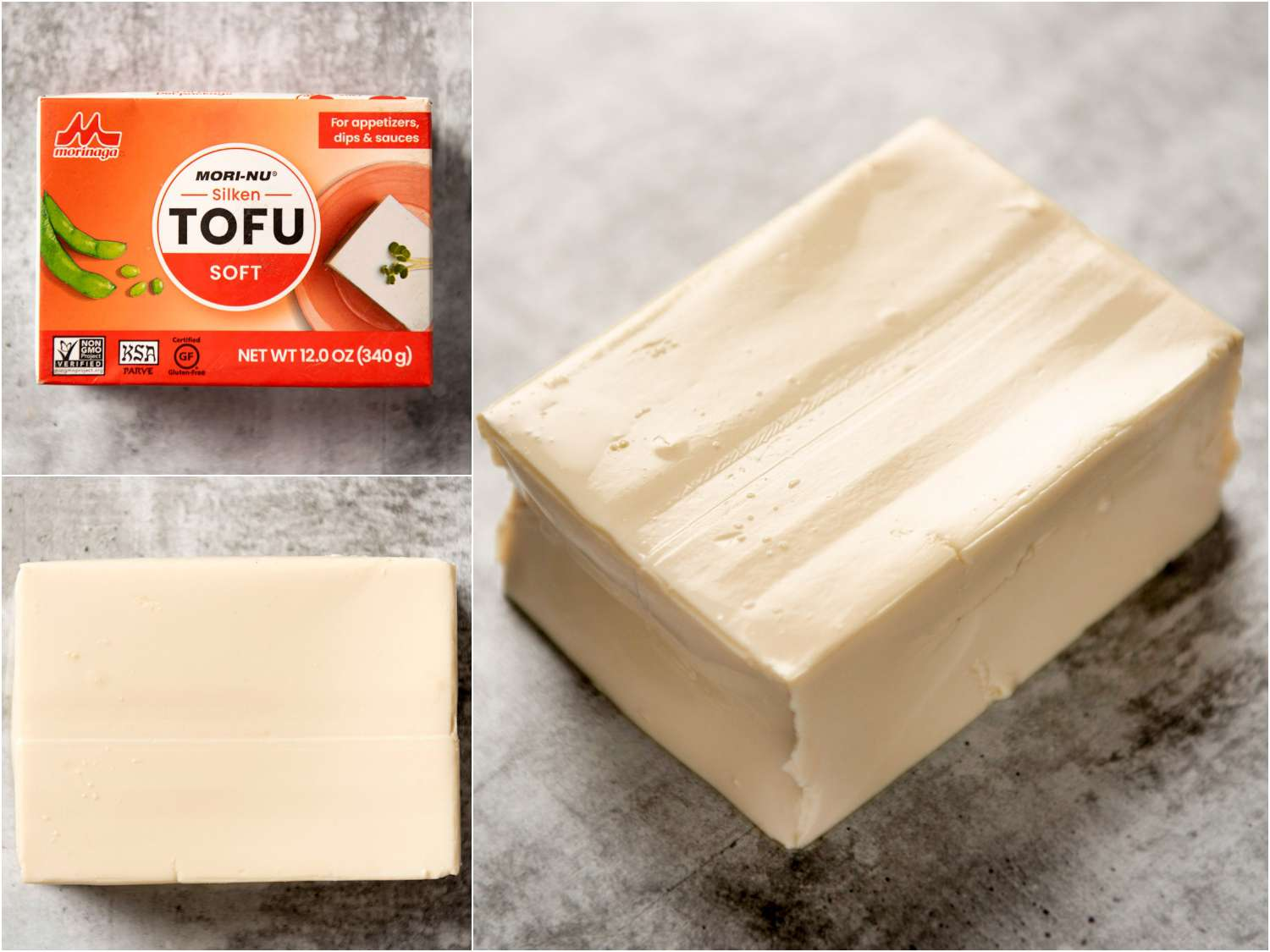 collage: soft silken tofu in packaging; unpackaged; side angle