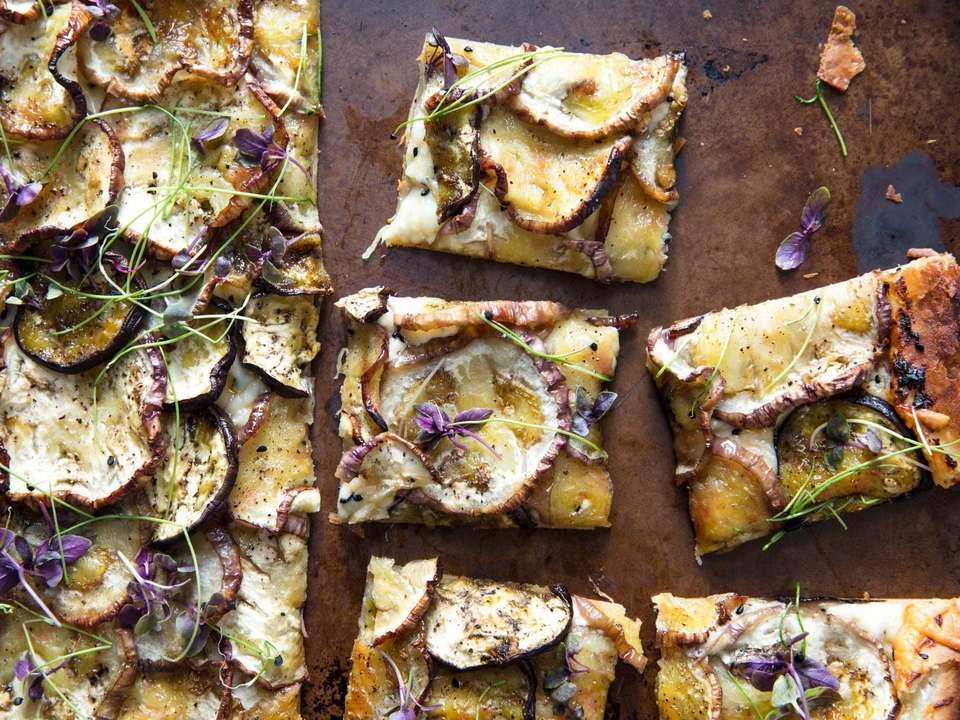 Close up of finished eggplant tart on sheet tray