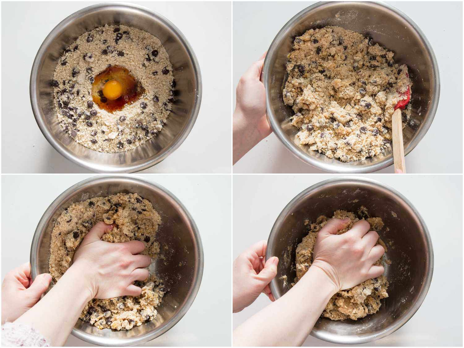 Collage of eggs and vanilla being added into chocolate chip cookie dry mix to form dough