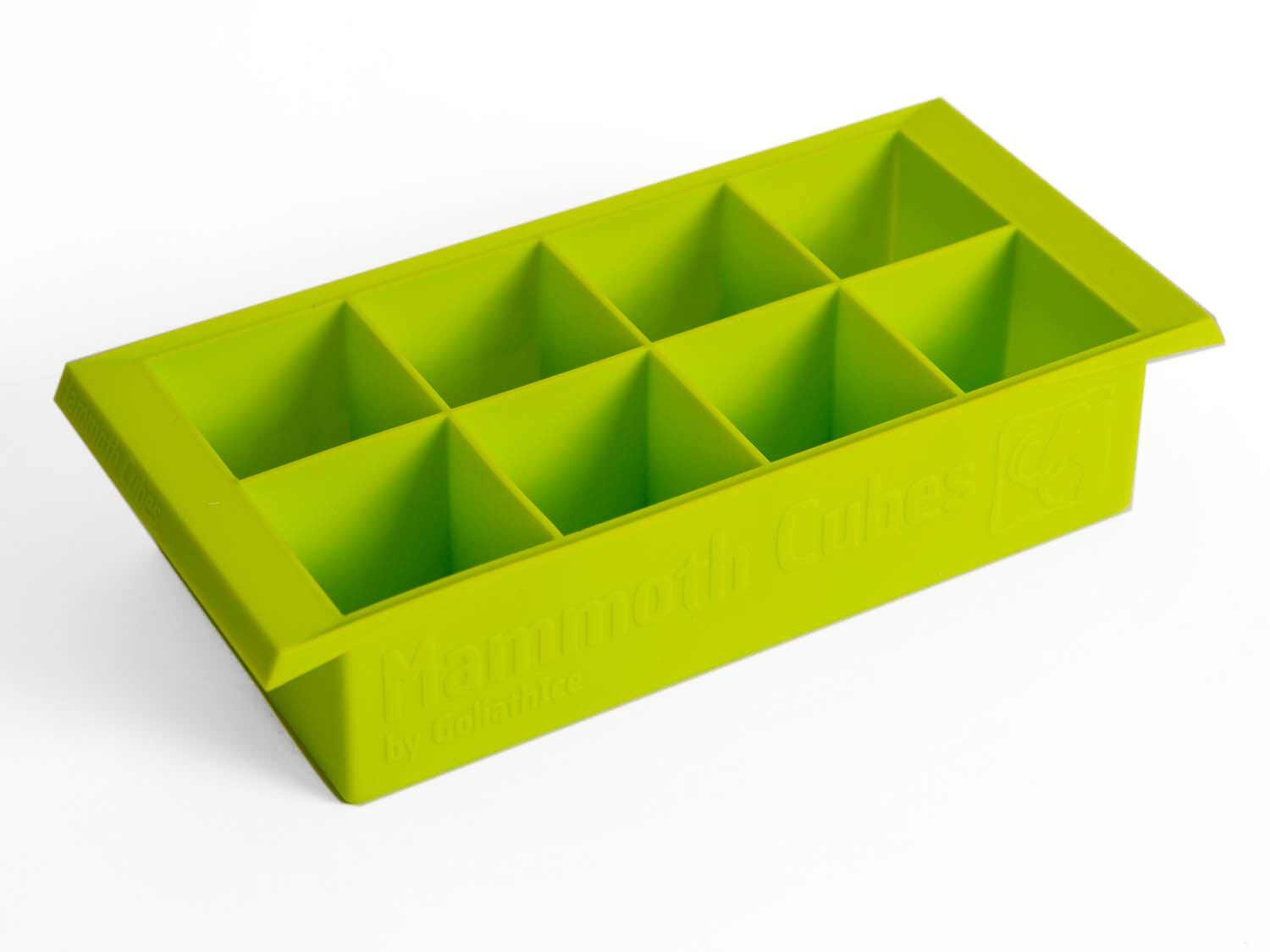 A green ice cube tray for large cubes