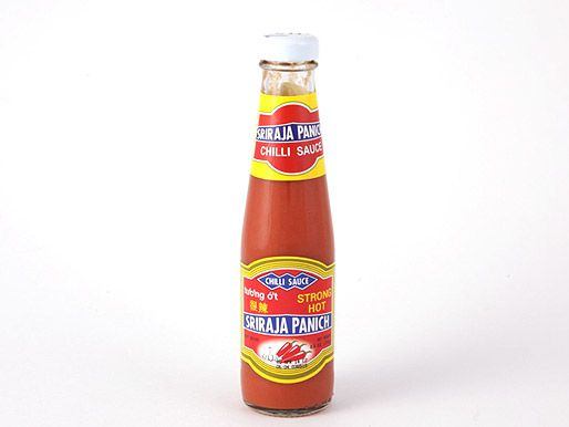 A bottle of Sriraja Panich Sriracha sauce