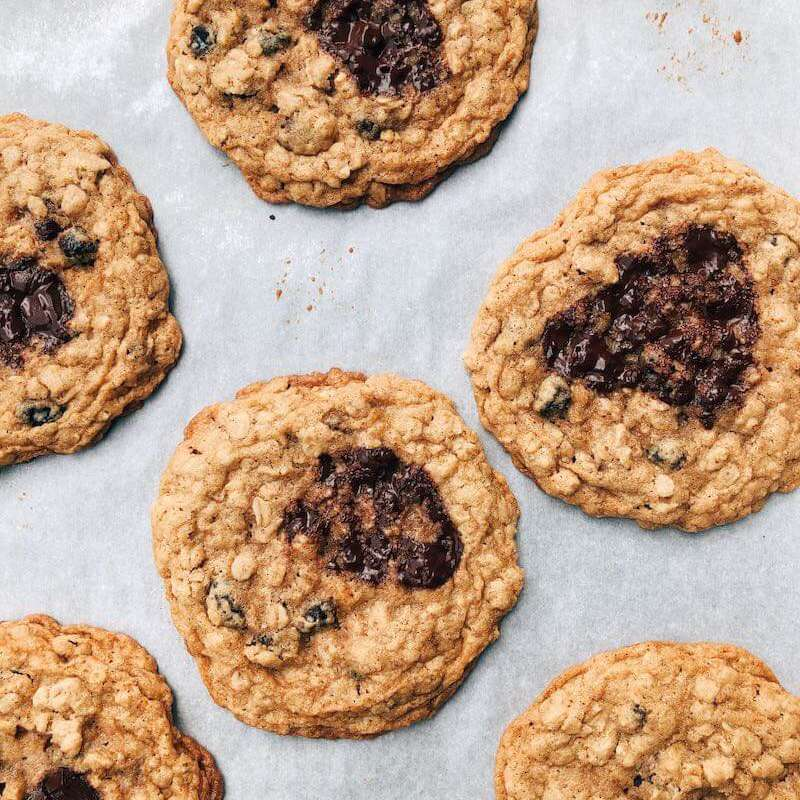 Ovehread view of oatmeal cookies