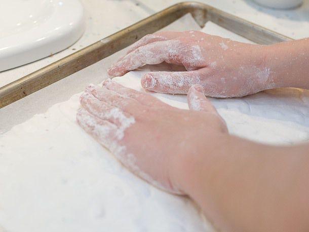shaping nougat on baking sheet