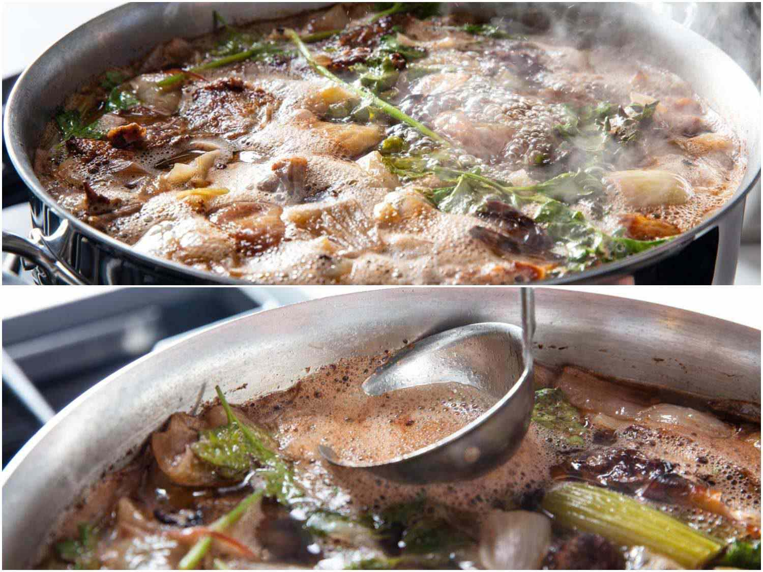 Photo collage of bringing duck stock to a boil and skimming surface with a ladle.