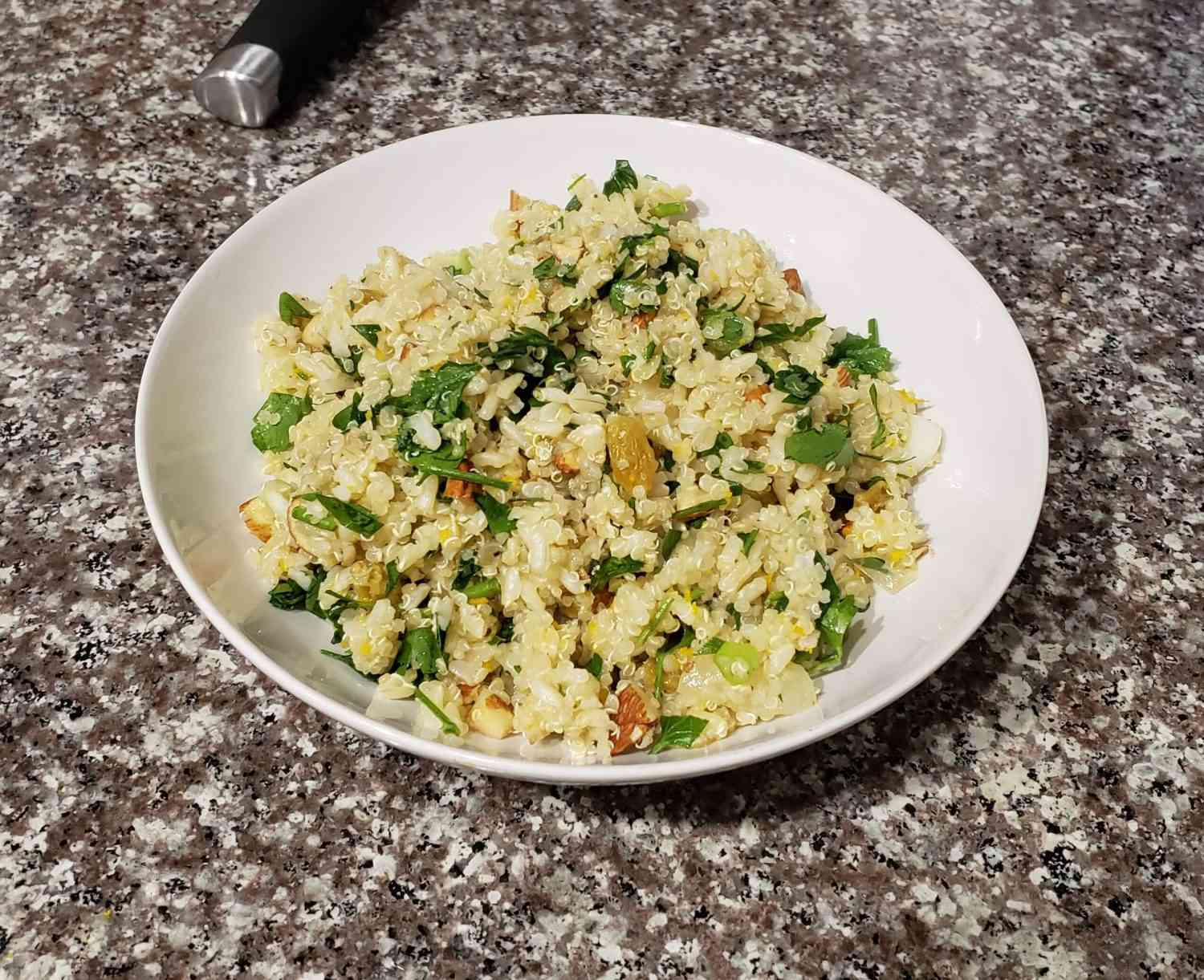 Bowl of rice and quinoa salad on a counter