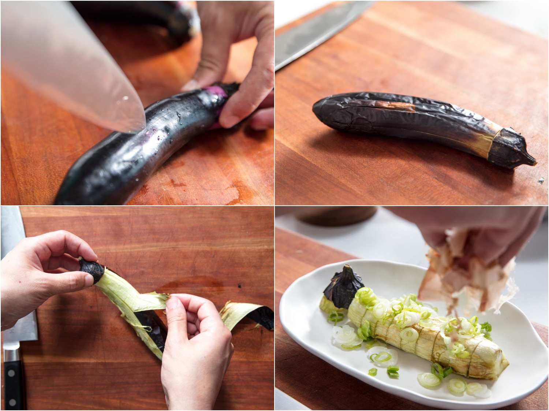 Stages of making Japanese broiled eggplants: scoring a slender Japanese eggplant, eggplant once roasted, peeling the eggplant, garnishing sliced eggplant with scallions and katsuobushi