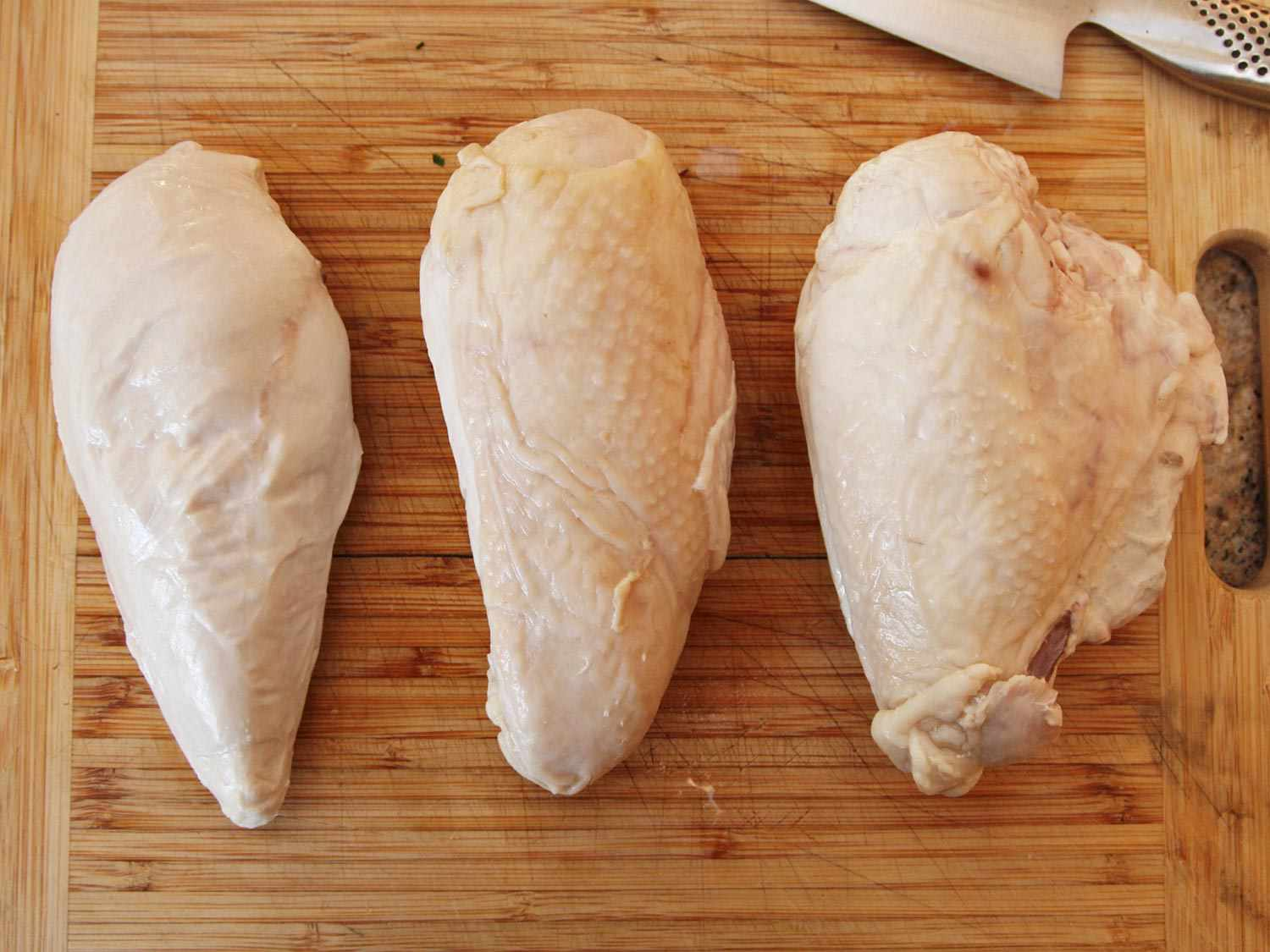 Three chicken breasts: one skin-off, one skin-on, one skin-on and bone-in