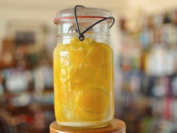 Jar of finished preserved lemons
