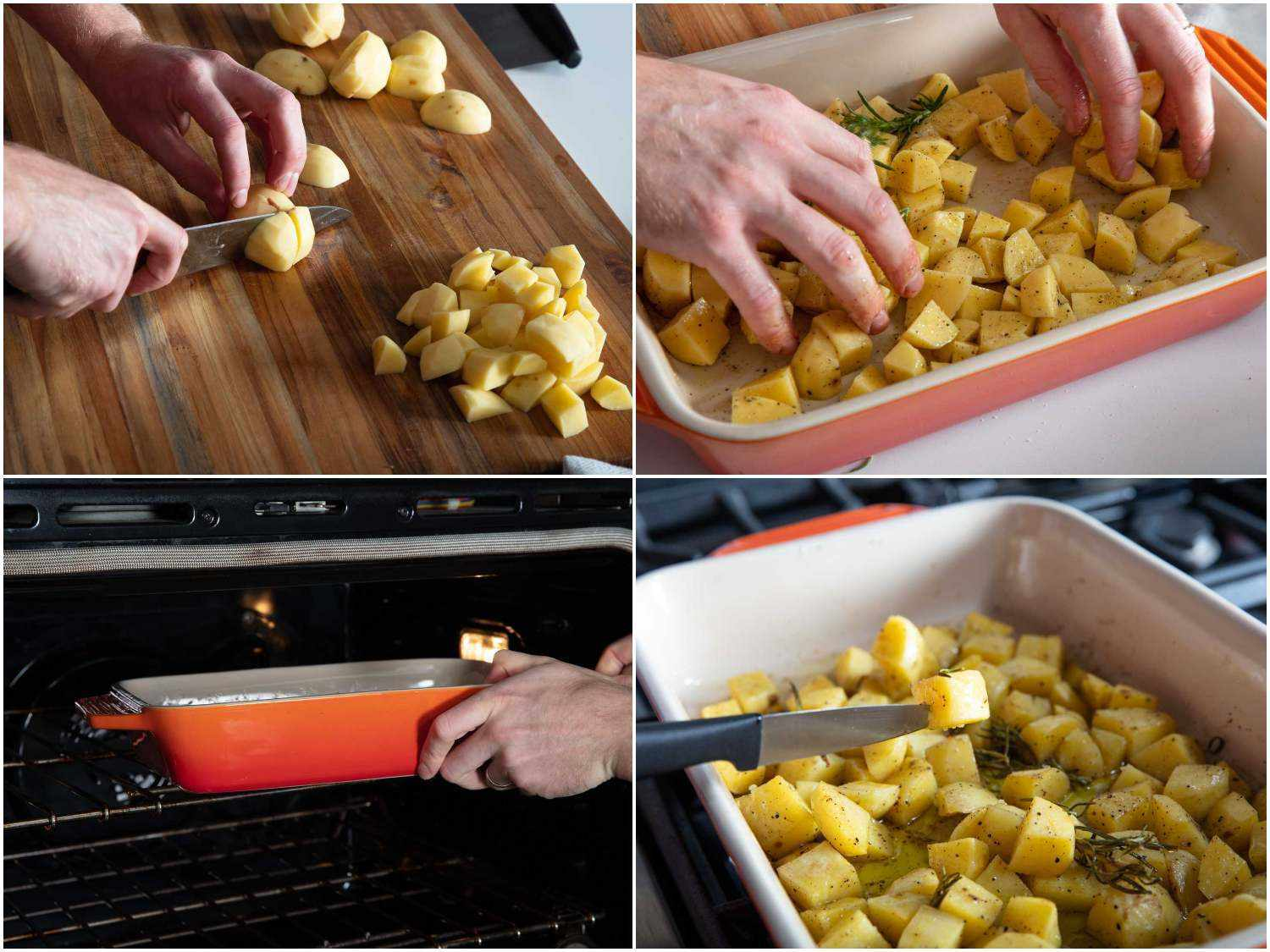 Photo collage of par-roasting potatoes in a baking dish with rosemary and olive oil.
