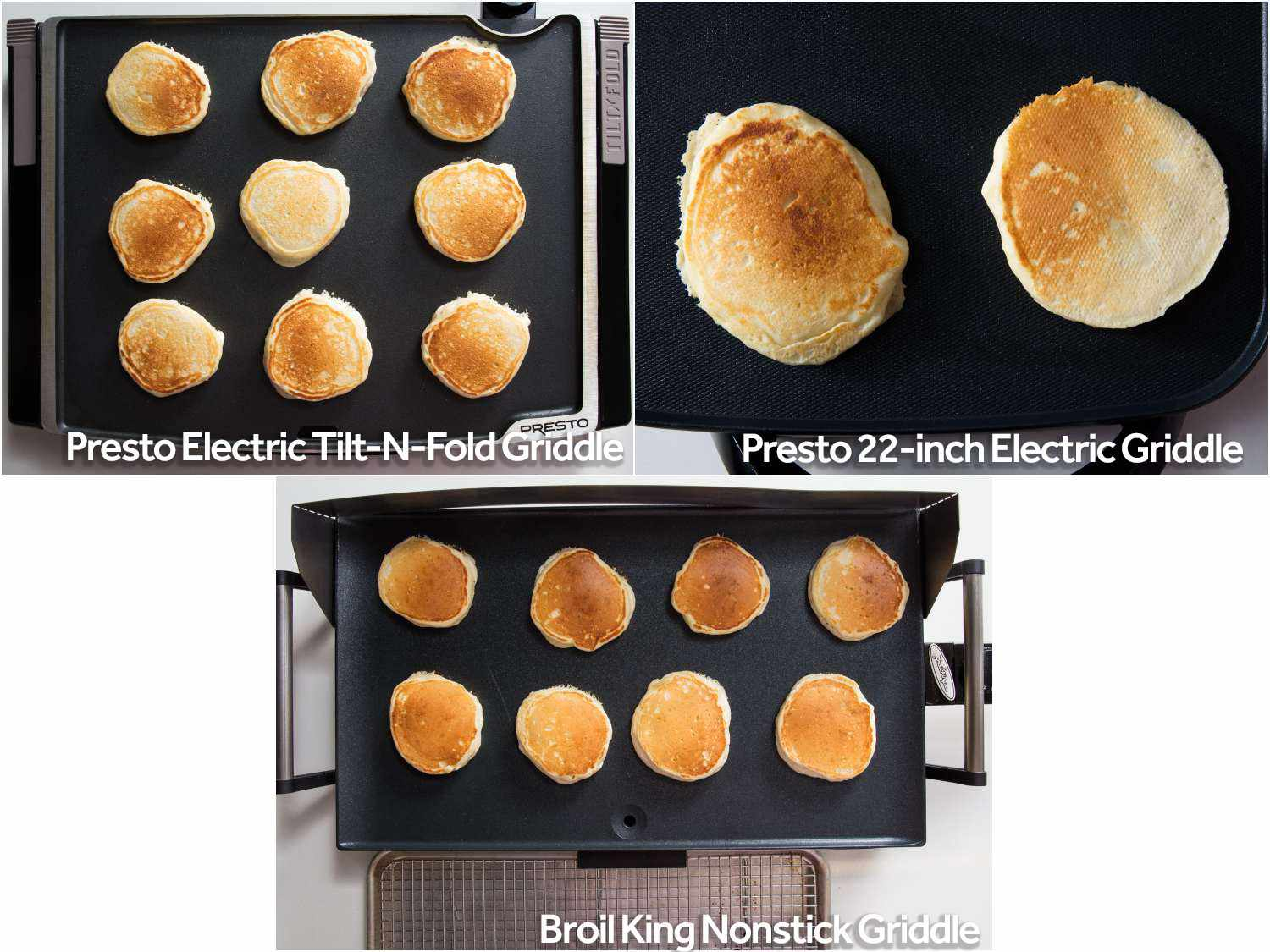 Cooking pancakes on top three griddles.