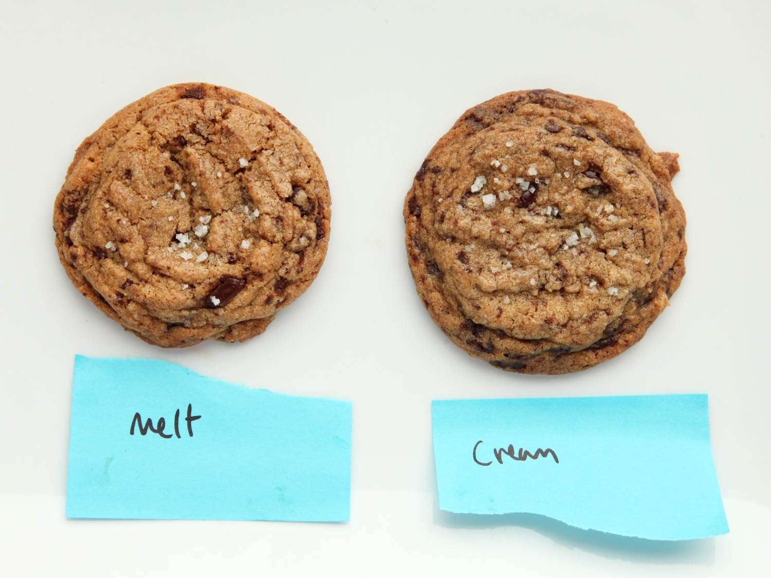 Side by side image showing two chocolate chip cookies, one made with melted butter and one made using softened butter and the creaming method.