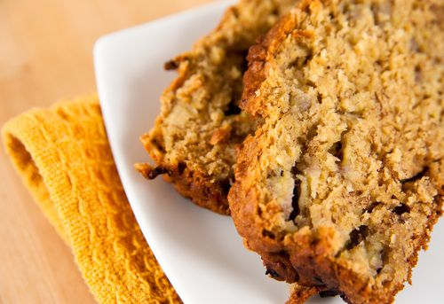 Two slices of banana bread on a small plate