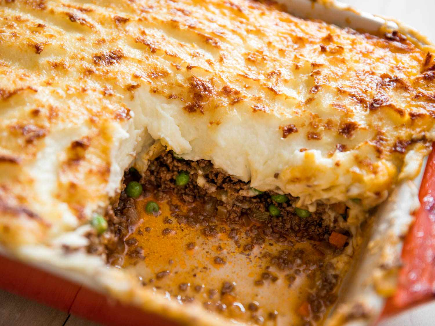A baking dish of Classic Savory Shepherd's Pie (With Beef and/or Lamb)