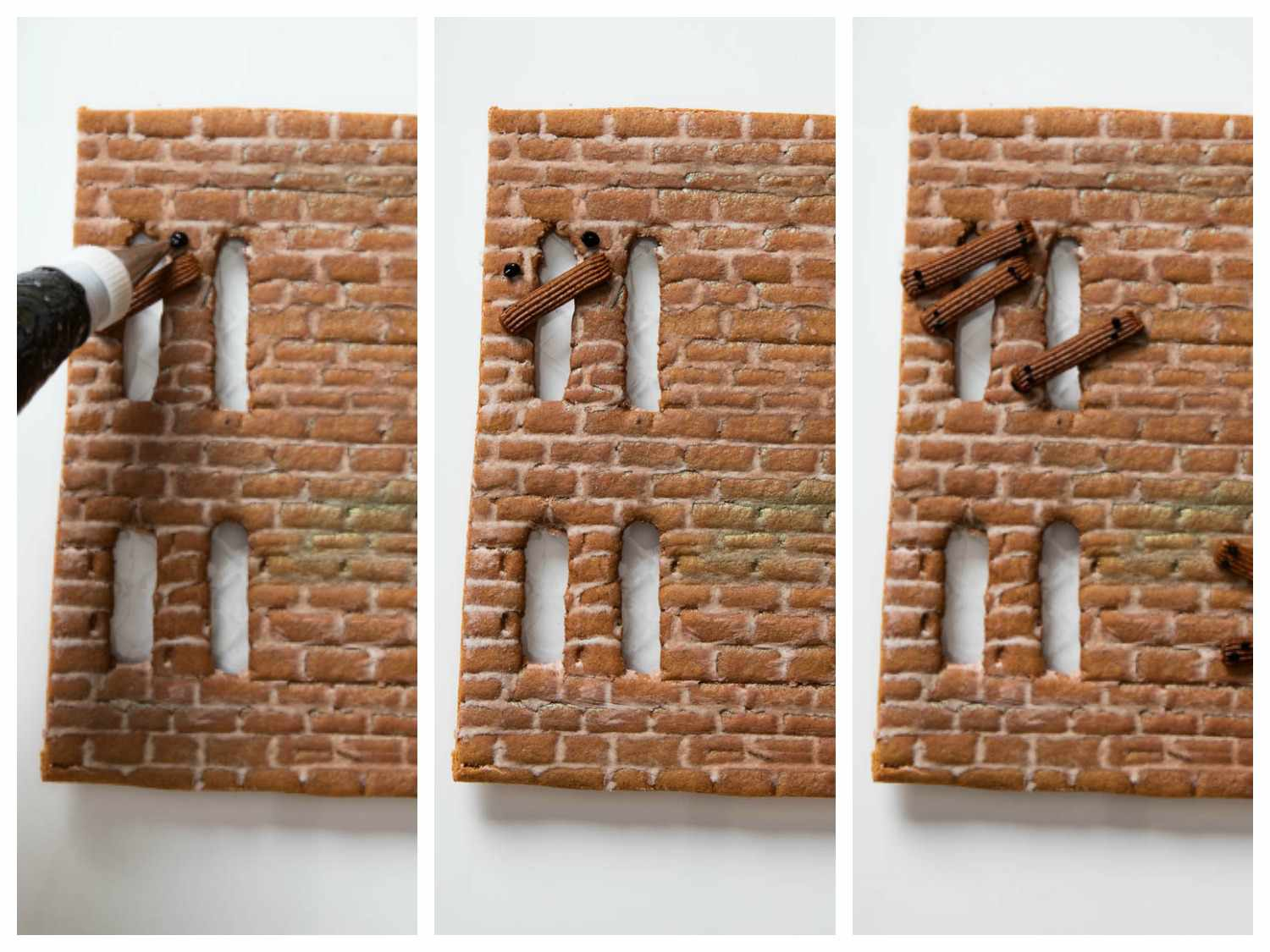 Collage of photos of piping brown gingerbread paste and black frosting over gingerbread house windows to make